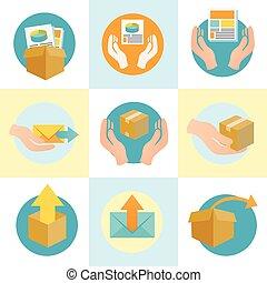 caja, colateral, iconos, mercadotecnia, compañía, embalaje, ...