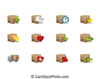 caja, comercio electrónico, iconos