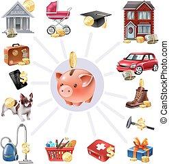 caja, composición, dinero del ahorro, iconos, plano