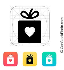 caja, con, corazón, icon.