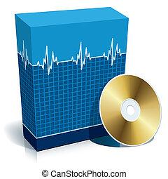 caja, con, médico, software