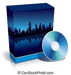 caja, con, moderno, ciudad, por la noche, y, cd