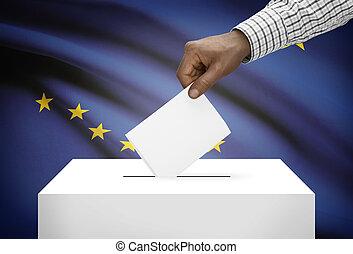 caja, concepto, estado, -, alaska, bandera de los e.e.u.u, ...