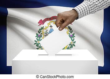 caja, concepto, estado, oeste, -, virginia, bandera de los e...