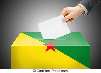 caja, concepto, guiana, pintado, nacional, -, bandera,...