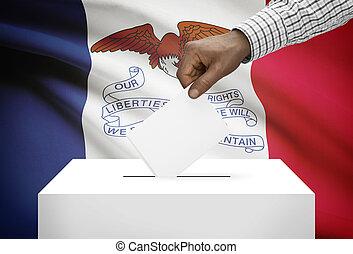 caja, concepto, iowa, -, estado, bandera de los e.e.u.u, ...