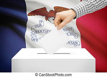 caja, concepto, iowa, nacional, -, bandera, plano de fondo, ...