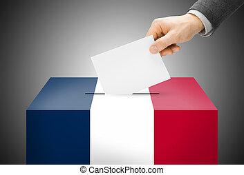 caja, concepto, pintado, nacional, -, bandera, francia,...