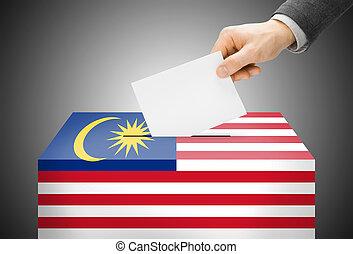 caja, concepto, pintado, nacional, -, bandera, malasia,...