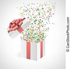 caja, confeti, grayscale, regalo