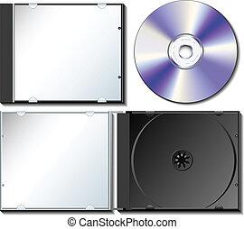 caja, conjunto, cd