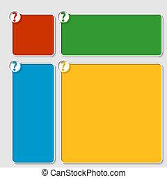 caja, conjunto, coloreado, texto, signo de interrogación, ...