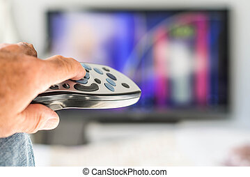 caja, control, telecontrol de la televisión, señalar,...