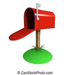 caja, correo, 3d
