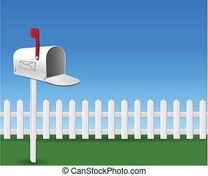 caja, correo, jardín