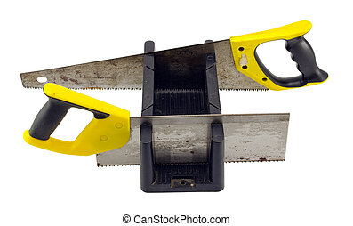 caja, corte, ángulo, mitra, herramienta, mano, blanco, sierras