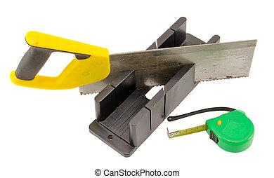 caja, corte, ángulo, mitra, metro, plástico, medida, Sierra, herramienta