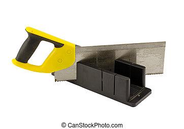 caja, corte, ángulo, mitra, plástico, blanco, Sierra, herramienta