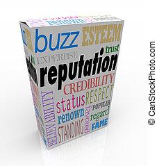 caja, creíble, producto, seguro, reputación, palabras