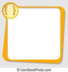 caja, cuadrado, corchetes, texto, amarillo, cualesquiera
