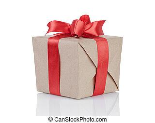 caja, cubo, arco obsequio, papel, envuelto, kraft, rojo