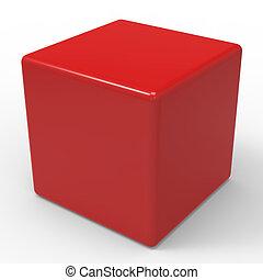 caja, cubo, dados, copyspace, blanco, o, rojo, exposiciones