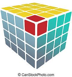 caja, cubo, oro, rompecabezas, solución, blanco, 3d