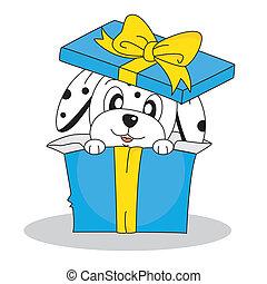 caja, dálmata, perro, regalo, afuera
