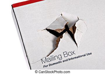 caja, dañado, envío