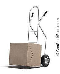 caja de cartón, en, camión de mano