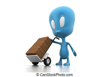 caja de cartón, en, mano, o, saco, camión