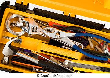 caja de herramientas, amarillo