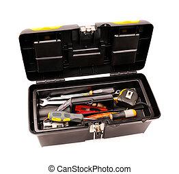 caja de herramientas, con, herramientas