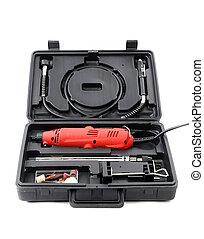 caja de herramientas, con, taladro