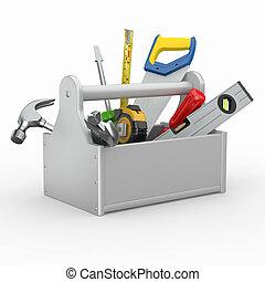 caja de herramientas, con, tools., skrewdriver, martillo, handsaw, y, wrench.