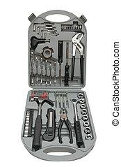 caja de herramientas, con, vario, herramientas, aislado, blanco