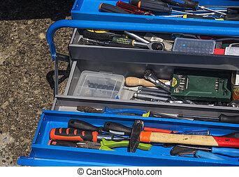 caja de herramientas, conjunto, herramientas