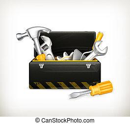 caja de herramientas, negro