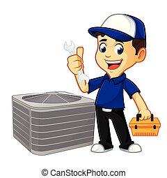 caja de herramientas, o, técnico, asimiento, hvac, llave inglesa, limpiador