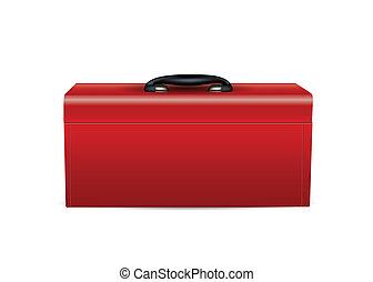 caja de herramientas, rojo blanco, aislado