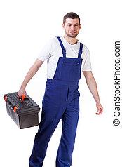 caja de herramientas, tenencia, hombre