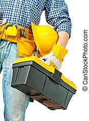 caja de herramientas, trabajador, mano