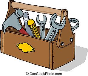 caja de herramientas, vector, ilustración