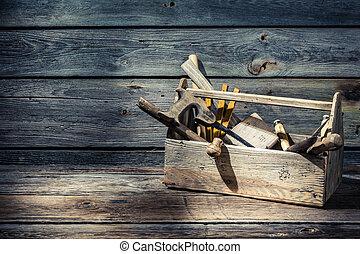 caja de herramientas, vendimia, carpinteros