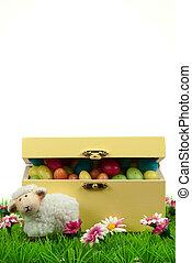 caja, de, huevos de pascua, y, lindo, sheep