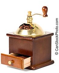 caja de madera, amoladora del café