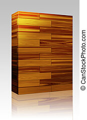 caja de madera, azulejos, parqué, paquete