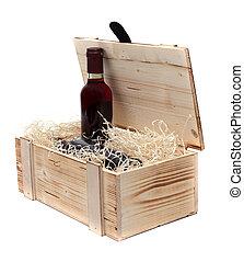 caja de madera, botella, vino