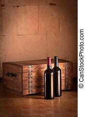 caja de madera, botellas
