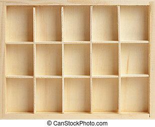 caja de madera, células, quince